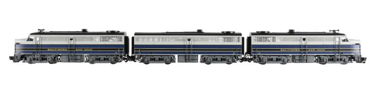 An Aristocraft G gauge 1/29th scale model of a Baltimore & Ohio diesel locomotive