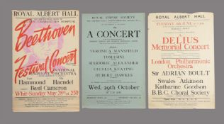 Posters of London classical music concerts including the Royal Albert Hall