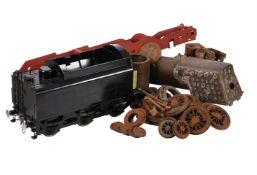 A part built 5 inch gauge model of a 9F tender locomotive