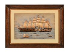 A rare mid-19th century folk art straw work and watercolour picture depicting the 'SS Great Eastern'