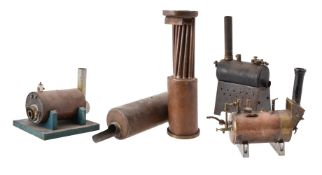 Three horizontal copper model boat boilers