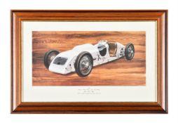 An Italian motoring print celebrating breaking a land speed record by Sir Reginal Munday