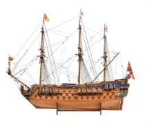 A finely built model of the Spanish Man O' War Galleon