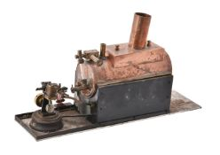 A copper horizontal model boat boiler and a small live steam boat engine