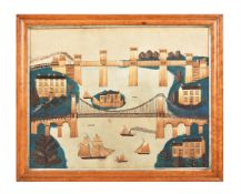 Y Two mid-19th century Welsh straw work pictures depicting 'The Menai Straits' and Conway Castle'