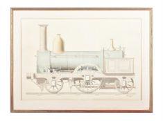 Charles Deakin (late 19th century English School), A 2-2-2 steam locomotive