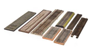 A collection of 3 1/2 inch gauge railway track
