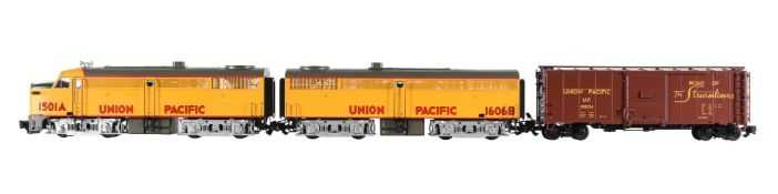 An Aristocraft G Gauge 1/29th scale model of an American Union Pacific Santa Fe diesel locomotive