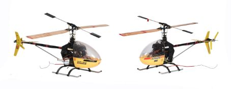 Two radio controlled models of cyclone helicopters