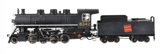 A 3 1/2 inch gauge model of 'Buffalo' a 2-8-0 Canadian Switcher tender locomotive