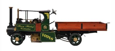 A well engineered 2 inch scale model of a Foden overtype open crank steam lorry