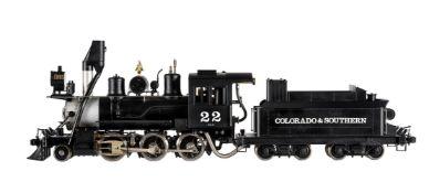 A Gauge 1 Aster model of a Colorado & Southern 2-6-0 American tender locomotive