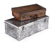 A leather travelling case and metal travelling trunk