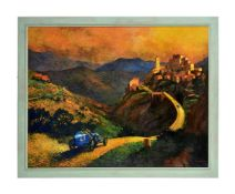 Barry Rowe, A mountain landscape with a blue racing car