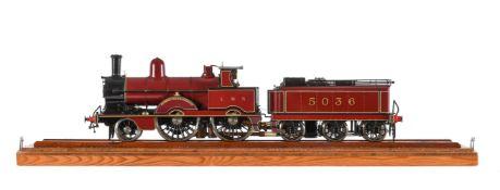 A gauge 1 Aster model of a 2-4-0 London Midland and Scottish tender locomotive