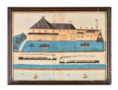 'Miss Don Colwyn'- a rare 19th century Welsh folk art straw work and watercolour picture
