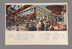 Terence Cuneo a group of three Calendar pages, depicting industrial scenes 1951 - 1952