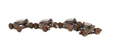 A set of four 7 1/4 inch gauge double bogies