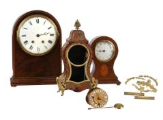 Y A FRENCH LOUIS XV STYLE SMALL BOULLE MANTEL CLOCK AND A GROUP OF FRENCH CLOCK MOVEMENTS