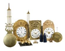 THREE FRENCH COMTOISE/MORBIER CLOCK MOVEMENTS AND DIALS