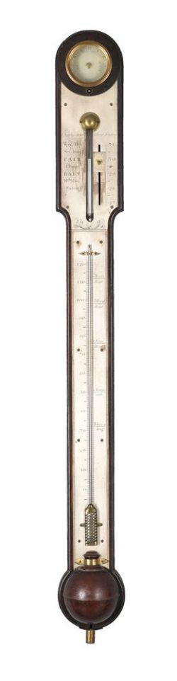 A FINE GEORGE III MAHOGANY BAYONET-TUBE MERCURY STICK BAROMETER WITH LARGE SCALE THERMOMETER