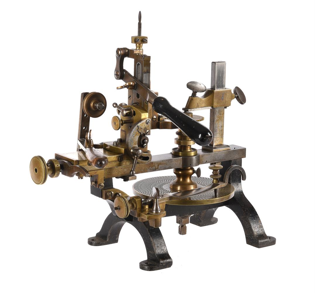 A RARE STEEL-FRAMED CLOCK OR WATCHMAKERS WHEEL CUTTING ENGINE - Image 2 of 3