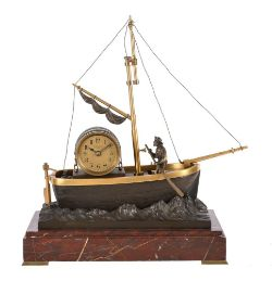 A RARE FRENCH GILT BRASS, BRONZE AND ROSSO FRANCIA MARBLE NOVELTY AUTOMATON TIMEPIECE 'THE OARSMAN'