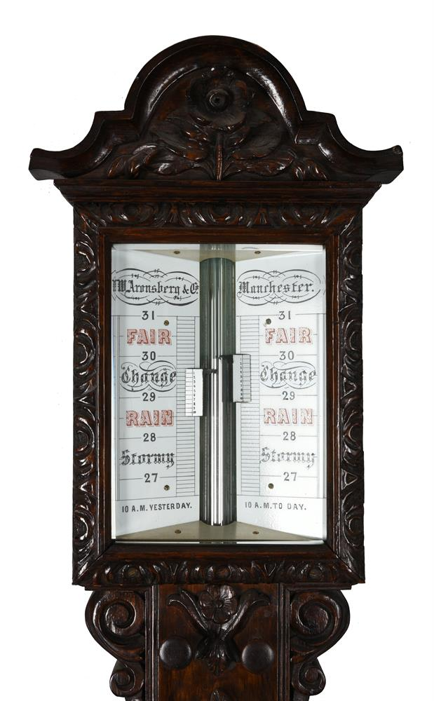 A VICTORIAN CARVED OAK MERCURY STICK BAROMETER - Image 2 of 2