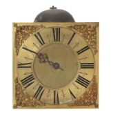 A QUEEN ANNE POSTED THIRTY-HOUR LONGCASE CLOCK MOVEMENT WITH TEN-INCH DIAL