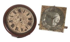 A GEORGE III THIRTY-HOUR LONGCASE CLOCK MOVEMENT AND DIAL