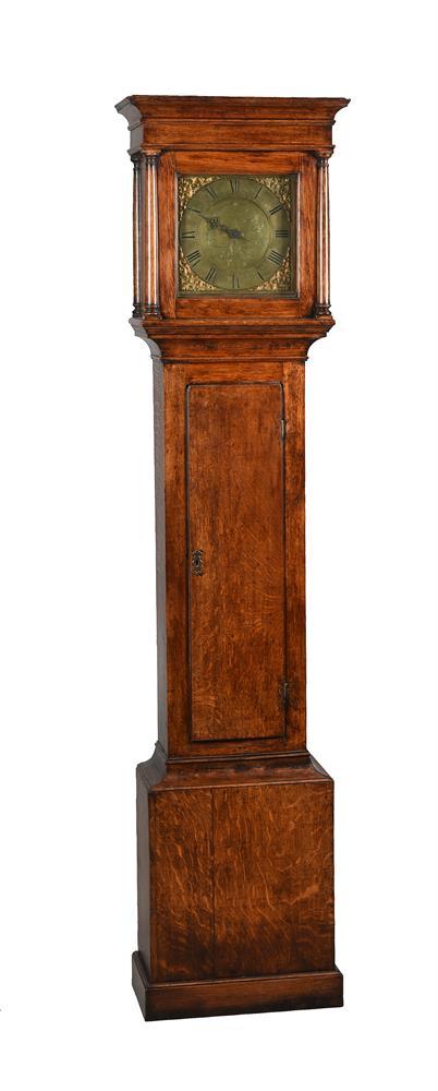 A GEORGE III OAK THIRTY-HOUR LONGCASE CLOCK