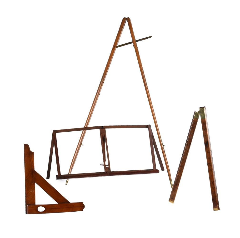 A GROUP OF THREE WOODEN MEASURING/SURVEYING INSTRUMENTS