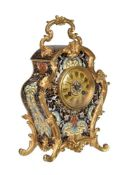 A FRENCH GILT BRASS AND CHAMPLEVE ENAMEL SMALL CARRIAGE MANTEL CLOCK