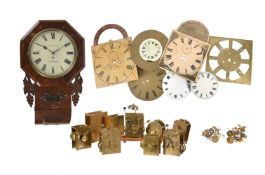 A VICTORIAN MAHOGANY FUSEE DROP-DIAL WALL TIMEPIECE AND A GROUP OF ENGLISH CLOCK MOVEMENTS