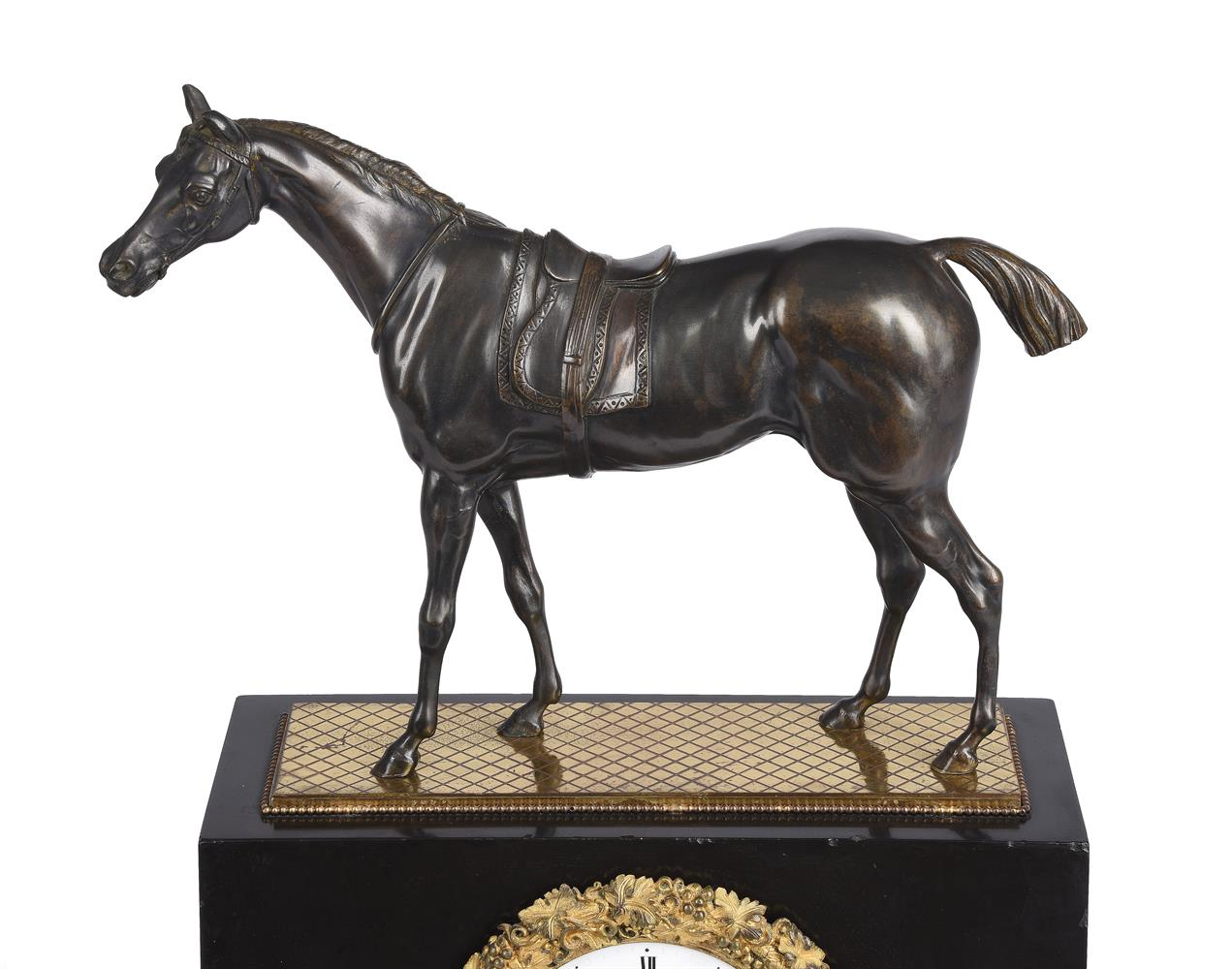 A FRENCH LOUIS PHILIPPE PATINATED BRONZE AND ORMOLU MOUNTED BELGE NOIR MARBLE MANTEL CLOCK - Image 2 of 3