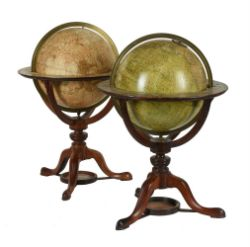 A FINE PAIR OF GEORGE III/REGENCY 12 INCH LIBRARY TABLE GLOBES