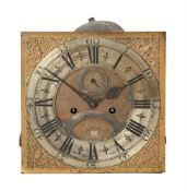 A GEORGE II EIGHT-DAY LONGCASE CLOCK MOVEMENT AND DIAL