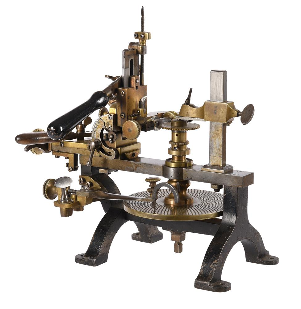 A RARE STEEL-FRAMED CLOCK OR WATCHMAKERS WHEEL CUTTING ENGINE