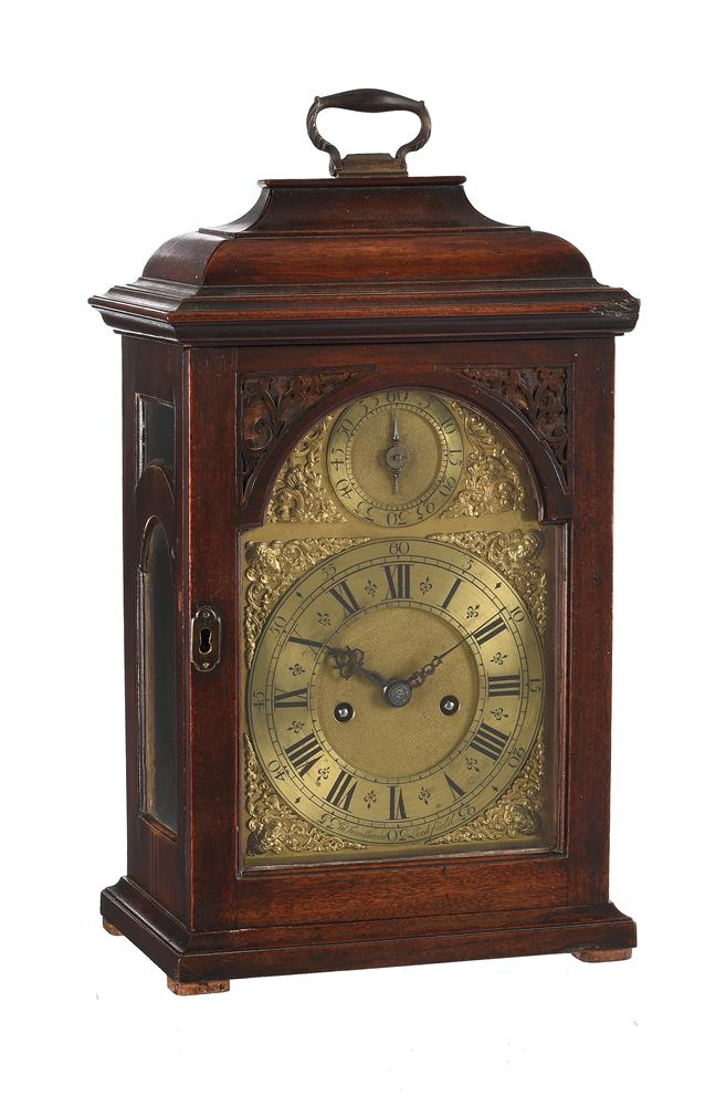 A RARE GEORGE II PROVINCIAL MAHOGANY TABLE CLOCK