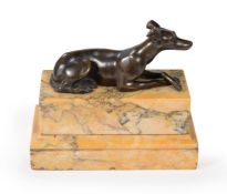 A BRONZE MODEL OF A RECUMBENT GREYHOUND, IN THE MANNER OF THOMAS WEEKS, 19TH CENTURY