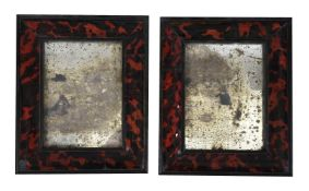 Y A PAIR OF SIMULATED TORTOISESHELL FRAMED MIRRORS, 20TH CENTURY