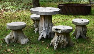A ELM TABLE AND FOUR STOOLS OF 'GROTTO' TYPE, 20TH CENTURY