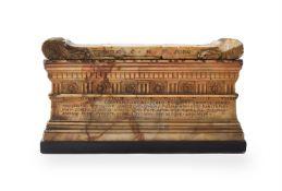 AN ITALIAN GIALLO ANTICO MODEL OF THE TOMB OF SCIPIO, EARLY 19TH CENTURY