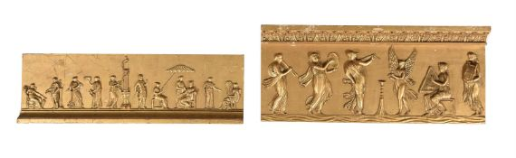 TWO GILT PLASTER RELIEF PANELS, FIRST HALF 19TH CENTURY