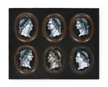 A GROUP OF SIX LIMOGES ENAMELS ON COPPER OF ROMAN EMPERORS, PROBABLY 17TH CENTURY