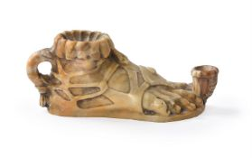 AFTER THE ANTIQUE, AN ITALIAN SIENA MARBLE MODEL OF AN OIL LAMP, 19TH CENTURY