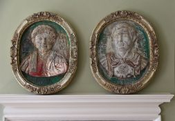 A PAIR OF ITALIAN POLYCHROME RELIEFS IN FRAMES, 20TH CENTURY