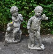 A PAIR OF COMPOSITION STONE MODELS OF CHERUBS, ATTRIBUTED TO AUSTIN & SEELEY, EARLY 20TH CENTURY