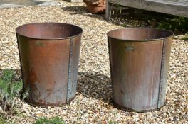 A PAIR OF COPPER BUCKETS OR PLANTERS, 20TH CENTURY