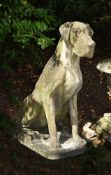 A LARGE COMPOSITION STONE MODEL OF A GREAT DANE DOG, CONTEMPORARY